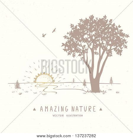 Beautiful panarama with amazing tree and road in sketch style. Vector illustration