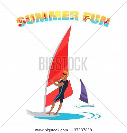 Summer fun concept illustration. Vector flat design. Active vacation on tropical sunny seaside. Water sport and entertainment. Swimming and windsurfing on the coast in flat design. On white background.