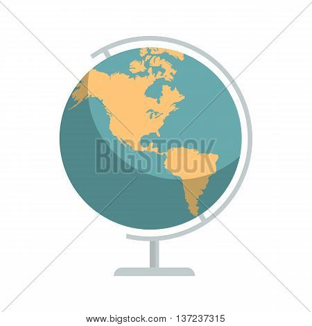 Earth world globe school icon on white. Education symbol. Geography Earth map. Vector illustration