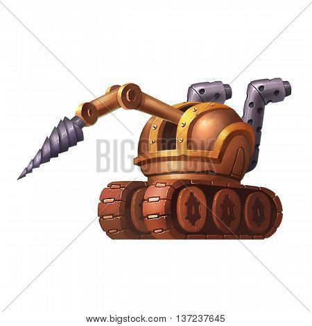 Steampunk Tank. Video Game Assets, Objects; Story Card Illustration Pieces isolated on White Background