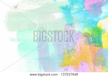Abstract colorful watercolor brush stroke illustration. Watercolor painting on paper. Abstract background.