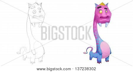 Long Neck Hippie Creature. Coloring Book, Outline Sketch, Animal Monster Mascot Character Design isolated on White Background