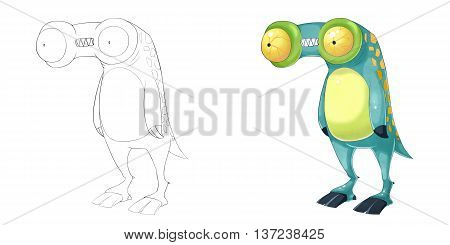 Telescope Frog Creature. Coloring Book, Outline Sketch, Animal Monster Mascot Character Design isolated on White Background