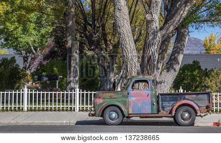 BRIDGEPORT, CA, USA - OCTOBER 11, 2015: Classic car on main street Bridgeport, California, America