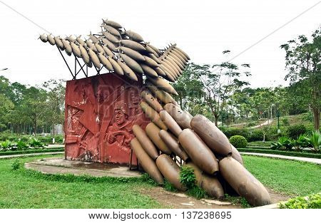 QUANG TRI, Vietnam April 18, 2016 historical, Dong Loc T-junction, Quang Tri Province, Vietnam, the ruins of war, displaying several bombs, war sopildisesa