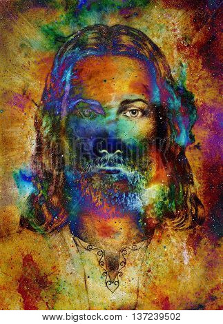 Jesus Christ painting with radiant colorful energy of light, eye contact