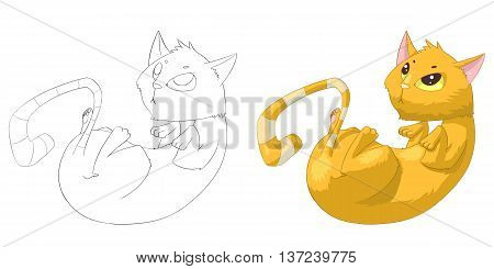 Bobcat or Cat. Coloring Book, Outline Sketch, Animal Mascot, Game Character Design isolated on White Background