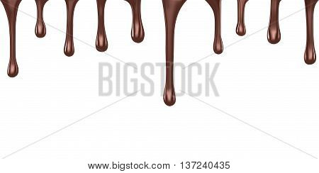 Hot chocolate streams dripping isolated on white,  vector illustration.