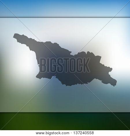 Georgia map on blurred background.  Blurred background with silhouette of Georgia. Georgia.