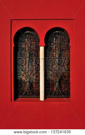 Moorish Window - decorated arabic style red window