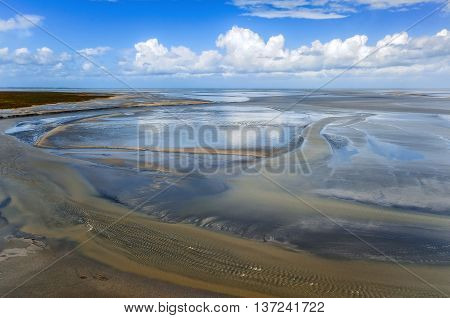 Low tide in the Mont Saint-Michel, France