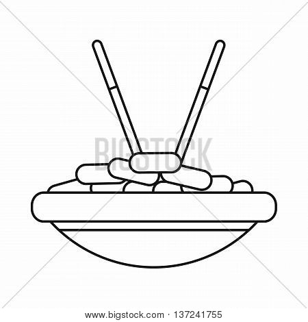 Bowl of rice with chopsticks icon in outline style isolated vector illustration. Food and utensils symbol