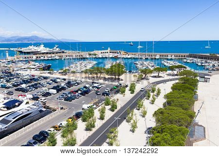 Yachts in the port of Antibes French Riviera. The port named Vauban is one of the biggest in Europe with space for more than 2.000 boats.