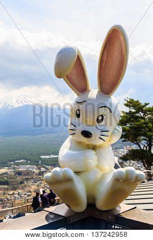 Tokyo Japan - April 11 2016: Rabbit dolls at Mount Tenjoyama or Mount Kachi kachi yama. Landmark see of Mount Fuji and Lake Kawaguchiko. Japan.