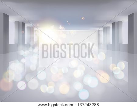 Large hall with opened door. Vector illustration.