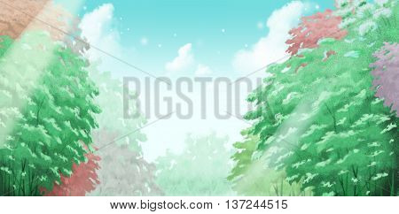 The Beautiful Sky Above Trees, One of the Good Things in Life. Video Game's Digital CG Artwork, Concept Illustration, Realistic Cartoon Style Background