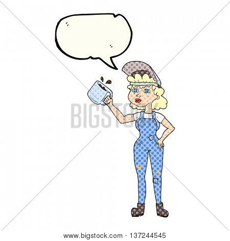 freehand drawn comic book speech bubble cartoon woman in dungarees