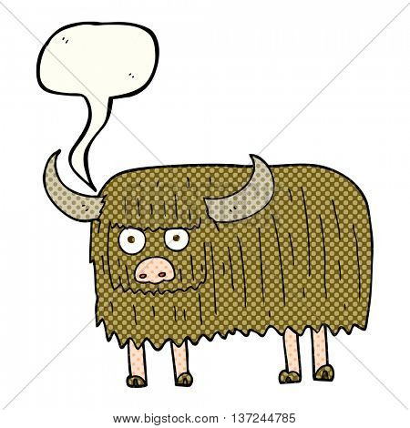 freehand drawn comic book speech bubble cartoon hairy cow