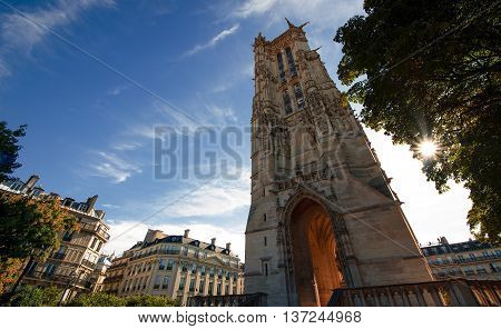 Tour Saint-Jacques at dawn in city Paris, France