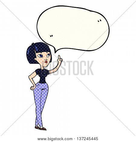 freehand drawn comic book speech bubble cartoon woman asking question