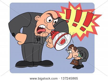 Illustration of the angry boss yelling at his worker