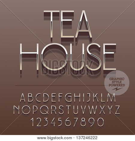 Set of slim reflective alphabet letters, numbers and punctuation symbols. Vector logo with text Tea house. File contains graphic styles