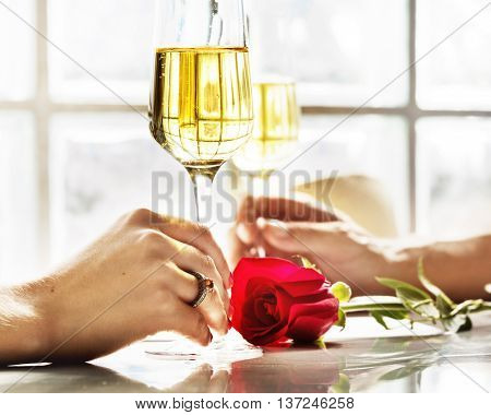 Couple Celebration Drinks Champagne Love Concept