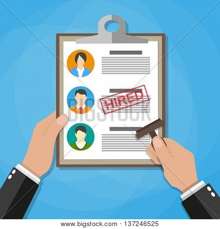 Hand holding resume and stamp with red hired stamp mark. Human resources management concept, searching professional staff, analyzing resume papers, work. vector illustration in flat design