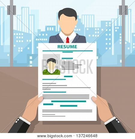 Recruiters hands holding cv and candidate in office. Human resources management concept, searching professional staff. vector illustration in flat design, cityscape background