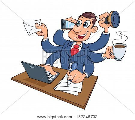 Illustration of the busy businessman successfully doing several things at once