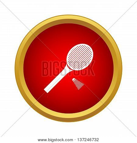 Tennis racket with a tennis ball icon in simple style on a white background