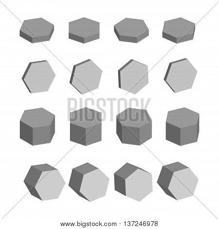 Hexagon Monochrome set of geometric prism shapes, platonic solids, vector illustration