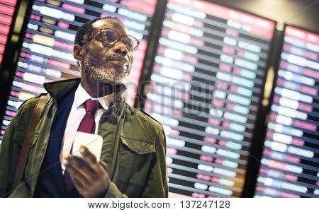 African Businessman Waiting Time Concept