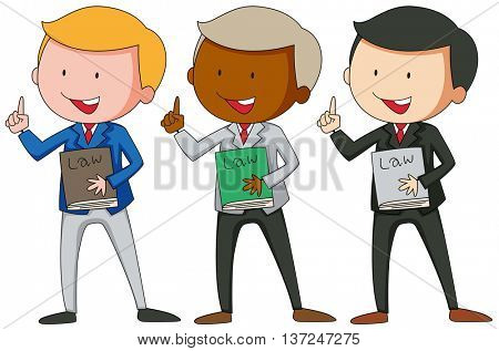 Three men in suit holding law books illustration