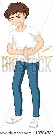 Man having serious stomachache illustration
