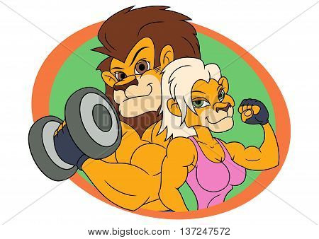Illustration of the strong smiling lion and lioness posing