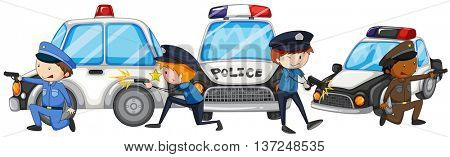 Policeman with gun by the police cars illustration