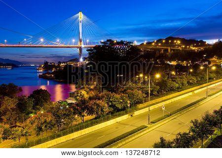 Ting Kau suspension bridge in Hong Kong
