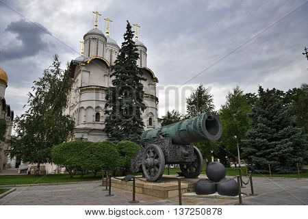 The Museum in the Kremlin. The Tsar Cannon and Church of the Twelve apostles / 19.06.2016 / Moscow, Russia.