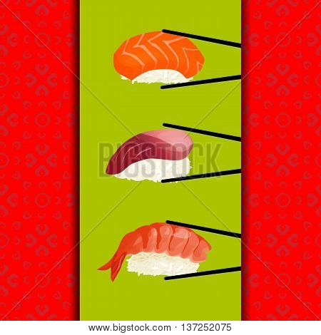 Sushi menu, seamless pattern with sushi, Sushi on sticks, on light green background, on a red background