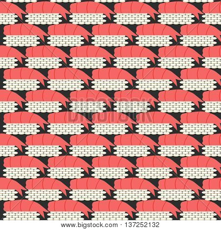 seamless pattern with sushi, with shrimp on black background