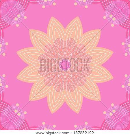 Abstract geometric seamless background. Delicate regular blossom beige and pink with white outlines on violet, with ellipses elements and beige dots, ornate and dreamy.