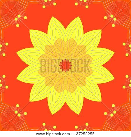 Abstract geometric seamless background. Yellow orange regular blossom on red, with ellipses elements and yellow dots, ornate and dreamy.