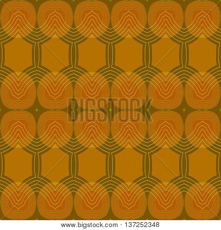 Abstract geometric plain retro background. Seamless ellipses and hexagon pattern in ocher and brown shades with light brown and olive green outlines.