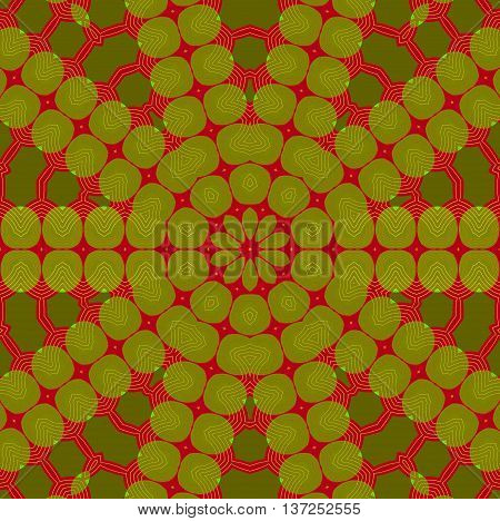 Abstract geometric seamless background. Concentric ornament, star pattern olive green and dark green on dark red.