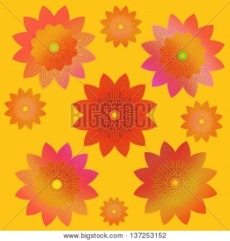 Abstract geometric floral retro background. Scattered blossoms in pink, yellow, orange, red and violet shades on yellow, conspicuous and vividly.
