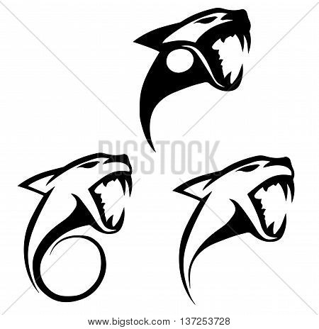 Black silhouettes stylized tiger head jaguar panther logo for on a white background