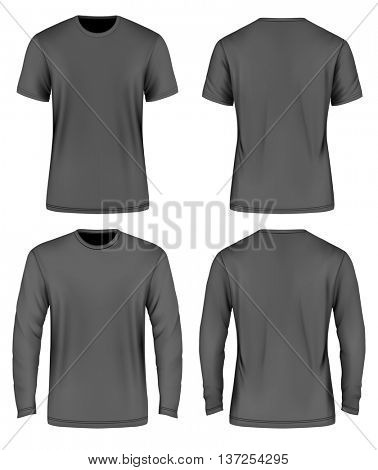 Men's black  t-shirt. Vector illustration. Fully editable handmade mesh.