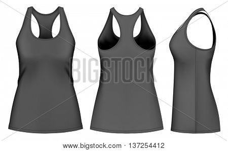 Women's singlet racer back. Fully editable handmade mesh. Vector illustration.