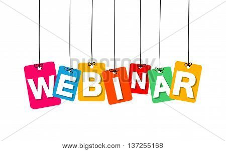 Vector colorful hanging cardboard. Tags - webinar on white background